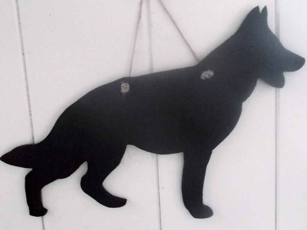 German Shepherd Dog (crouched) Shaped Black Chalkboard Alsation guard dog pet supplies - Tilly Bees