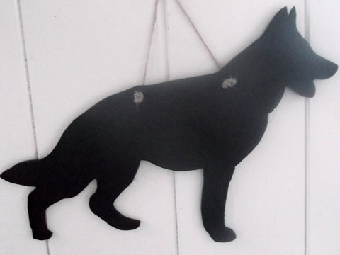 German Shepherd Dog (crouched) Shaped Black Chalkboard Alsation guard dog pet supplies
