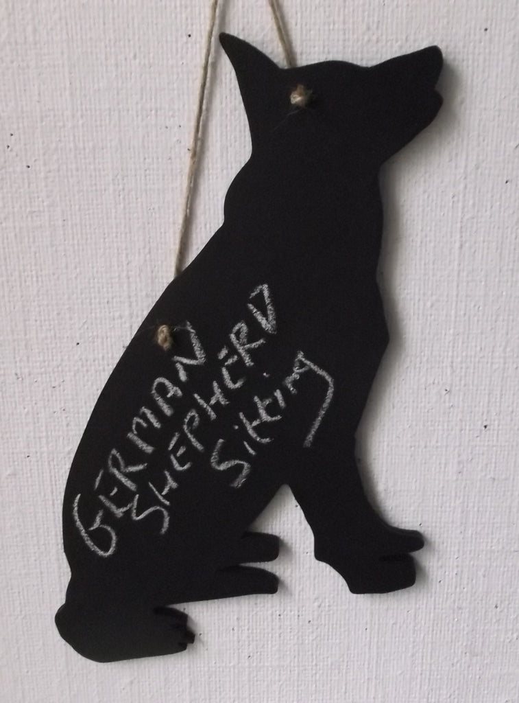 German Shepherd Alsation sitting Chalk board Blackboard can be made as lead holder too - Tilly Bees