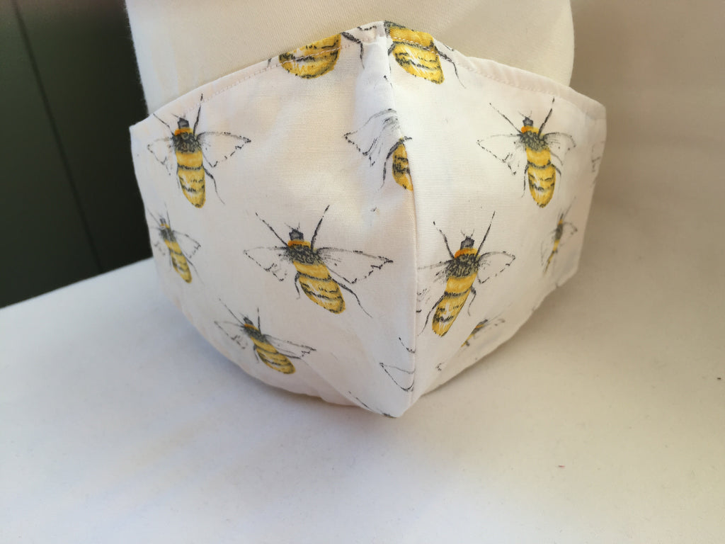 Handmade Fitted face covering / mask White fabric with Bumble Bee patterned fabric with 100% Cotton near face