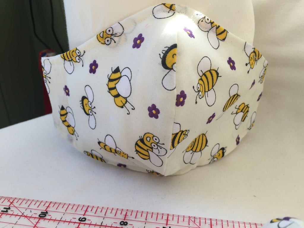 Fitted face covering / mask handmade with Bees & purple flower pattern fabric with 100% Cotton near face