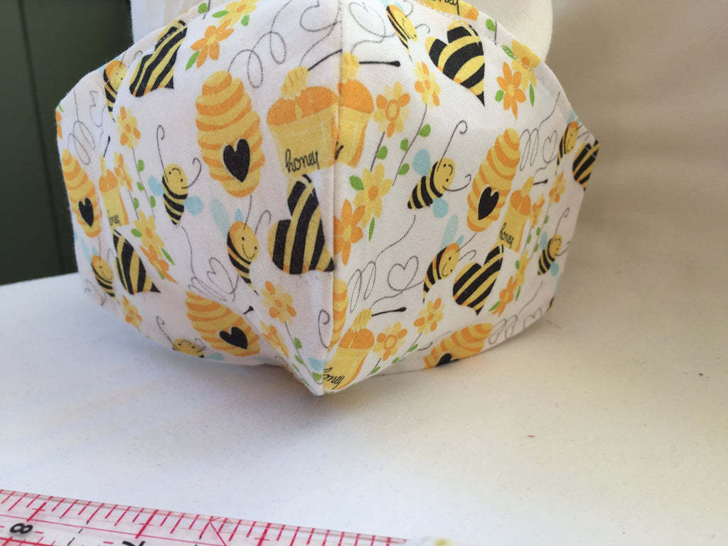 Fitted face covering / mask Bees & honey skep pattern Handmade with Bee patterned fabric with 100% Cotton near face