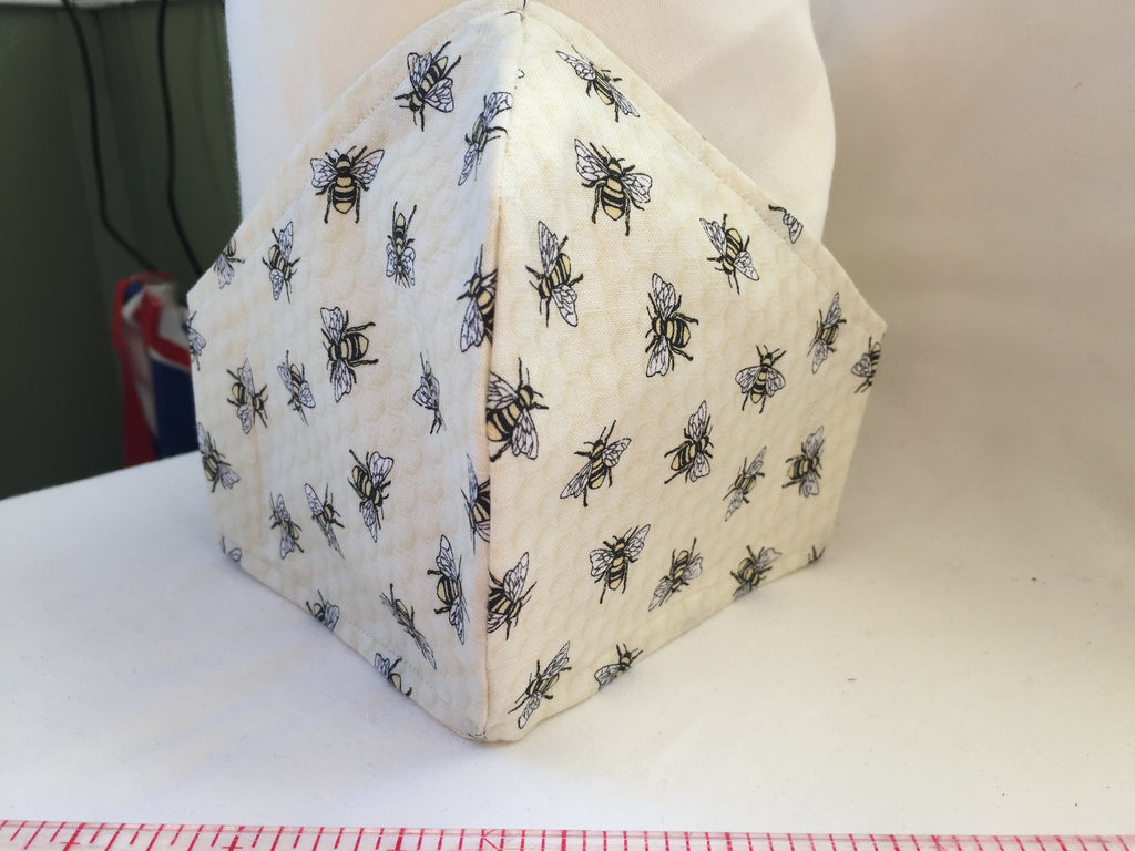 White Bees honeycomb pattern Handmade Fitted face covering / mask with Bee patterned fabric with 100% Cotton near face