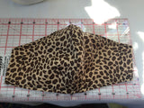 Handmade fitted face mask animal print fabric, double layers elastic or fabric ties