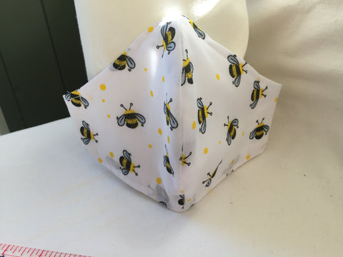 Handmade Fitted face covering / mask Bees & flower patterned fabric with 100% Cotton near face