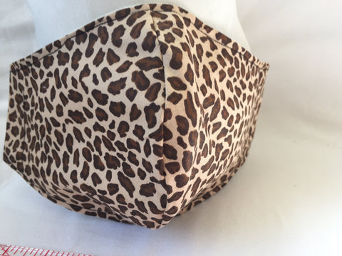 Handmade face covering mask Animal print double layer 100% Cotton near face 2 Layers