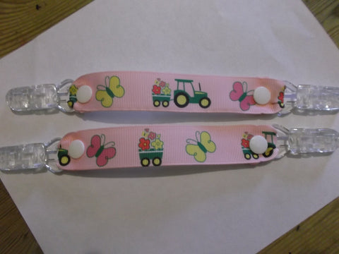 Pink tractor & trailer ribbon MITTEN CLIPS gloves or taggies 22mm grosgrain ribbon