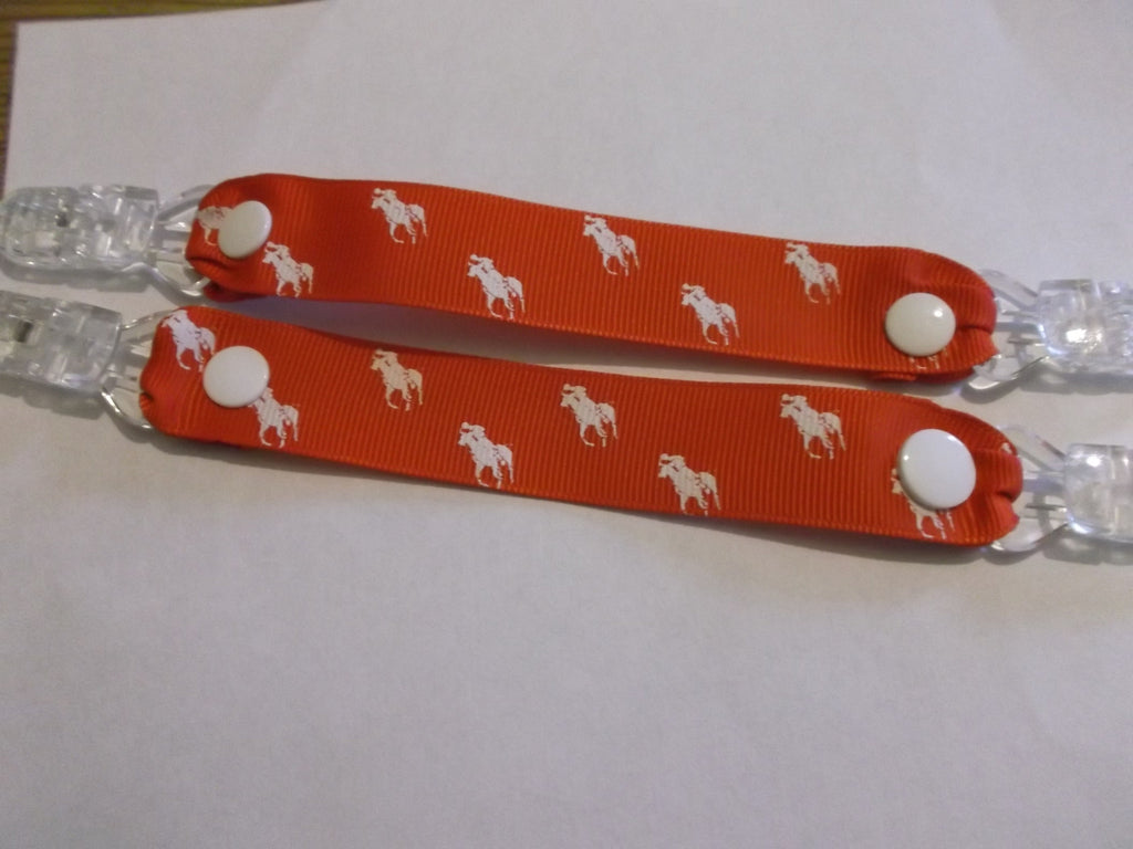 Bright Red Horse polo pony ribbon MITTEN CLIPS or GLOVE SAVERS holds mittens gloves or taggies and toys on a pram. - Tilly Bees