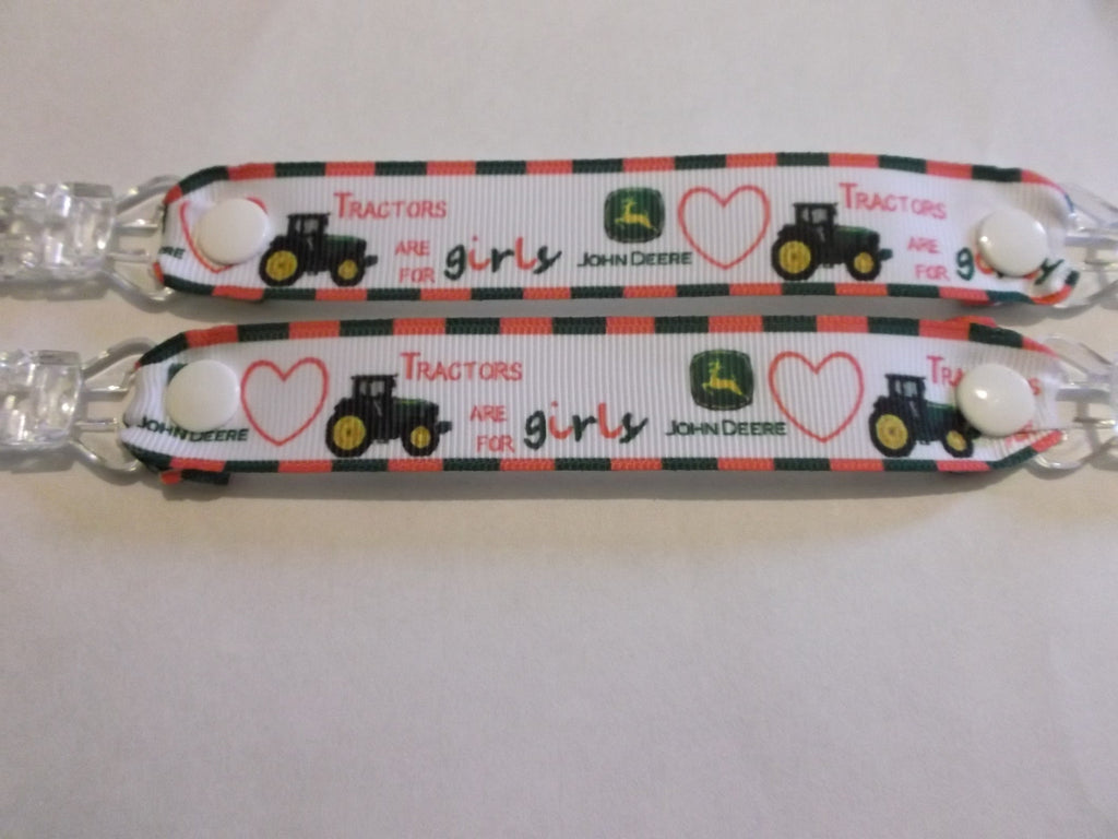 Pink tractors for girls ribbon MITTEN CLIPS gloves or taggies 22mm grosgrain ribbon - Tilly Bees