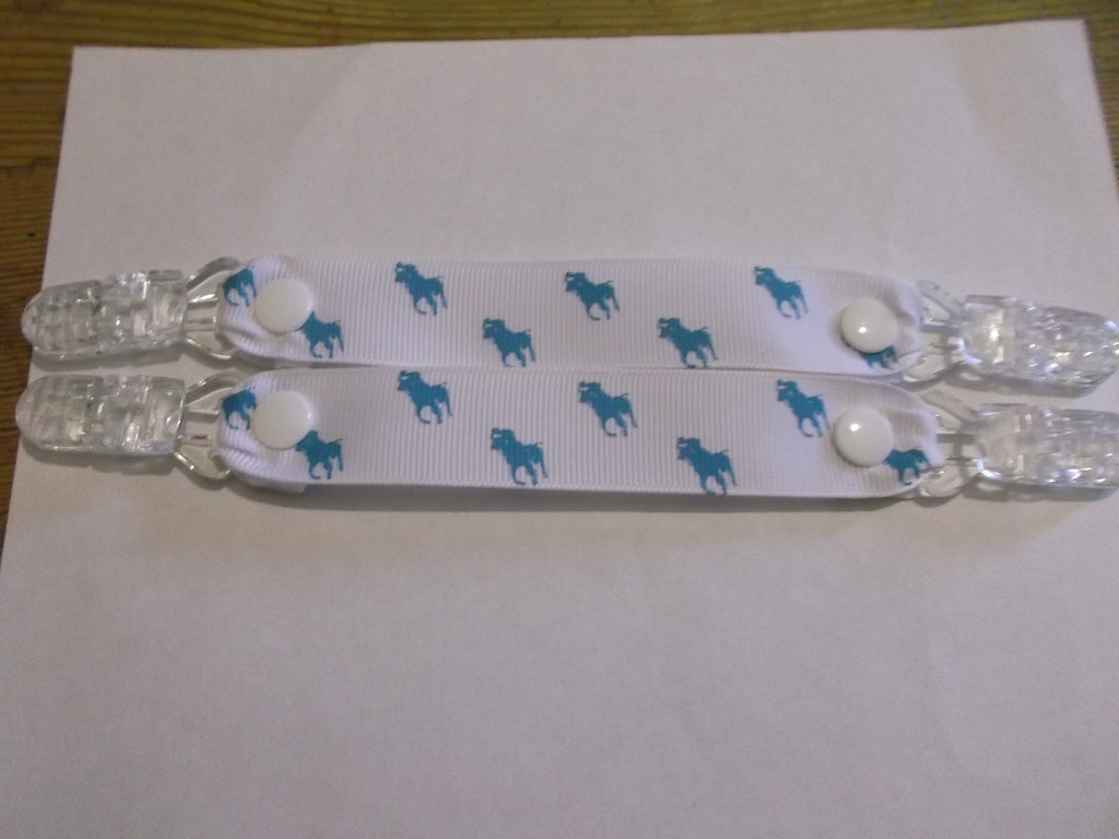Horse pony ribbon MITTEN CLIPS or gloves or maybe taggies too White ribbon blue pony - Tilly Bees