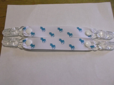 Horse pony ribbon MITTEN CLIPS or gloves or maybe taggies too White ribbon blue pony