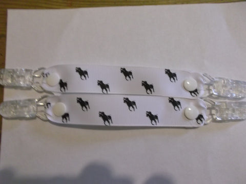 Horse pony ribbon MITTEN CLIPS gloves or maybe taggies White ribbon black polo pony