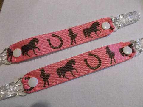 Pink Cowgirl Horse pony ribbon MITTEN CLIPS gloves or taggies too