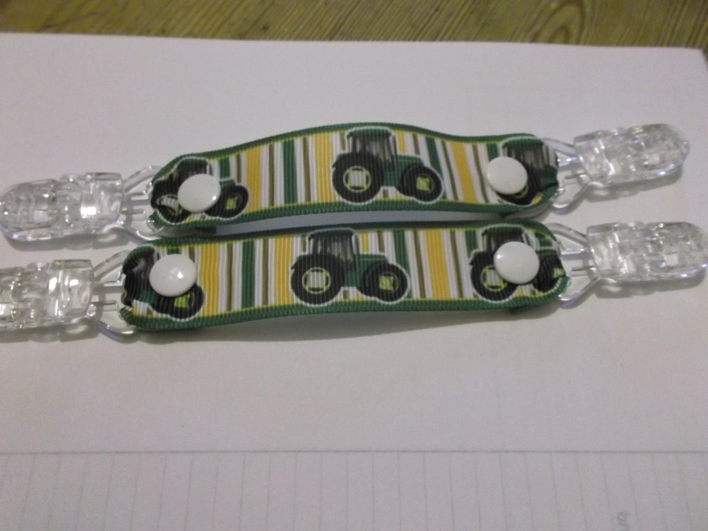Green Tractor patterned MITTEN CLIPS holds mittens gloves or taggies - Tilly Bees