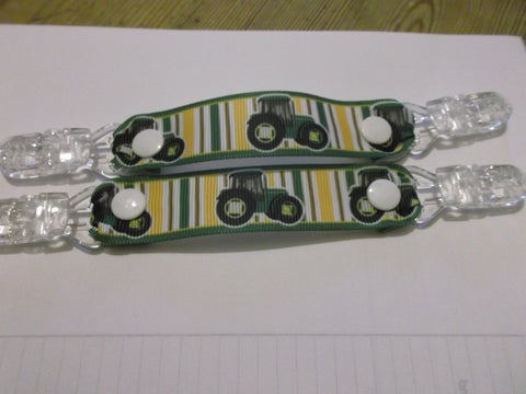 Green Tractor patterned MITTEN CLIPS holds mittens gloves or taggies