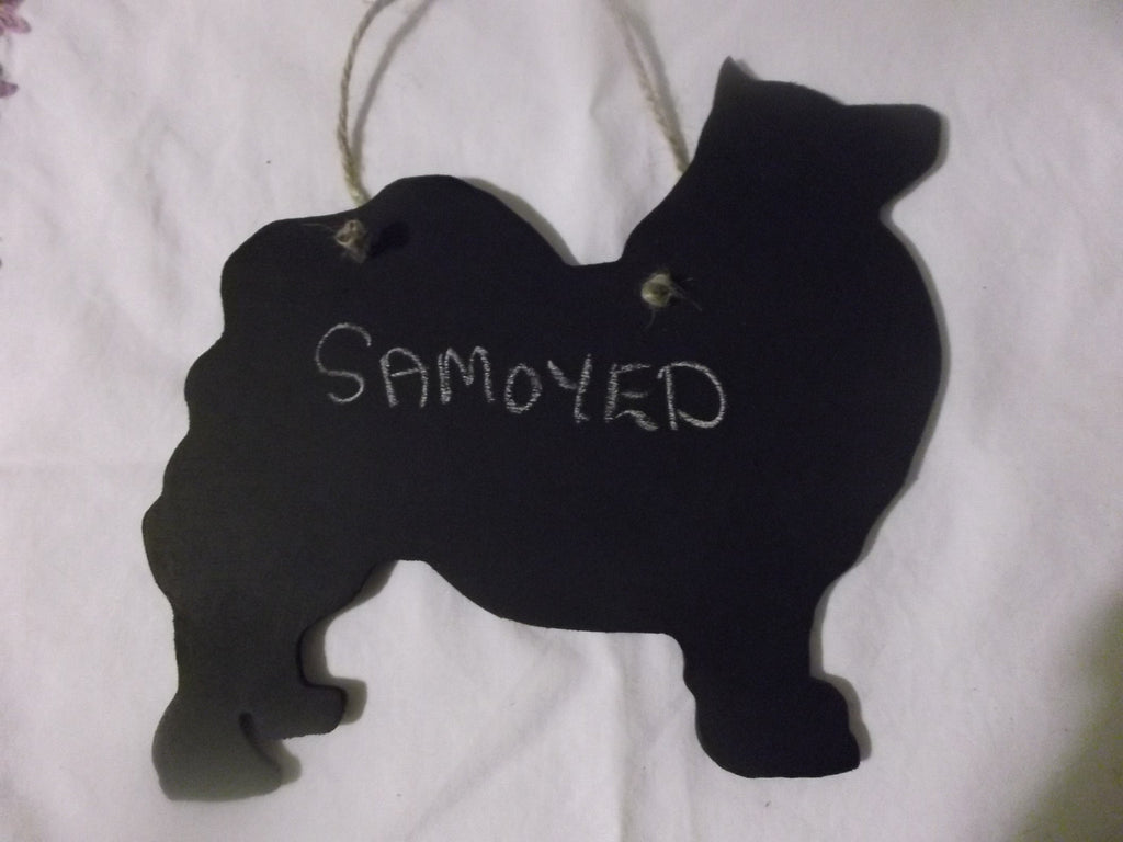 Samoyed Dog Shaped Black Chalkboard Christmas Birthday gift present pet supplies - Tilly Bees