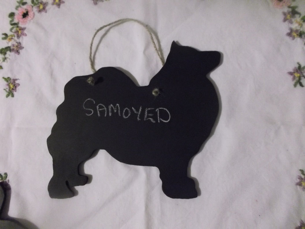 SAMOYED DOG shaped Key / Lead holder with chalkboard surface Christmas Gift Pet Supplies puppy - Tilly Bees