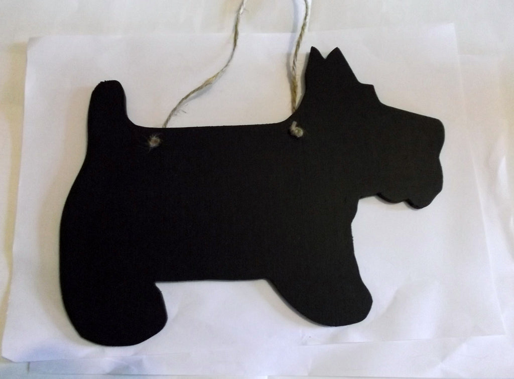 Scottie Dog Shaped Black Chalkboard Christmas Birthday gift present pet supplies - Tilly Bees