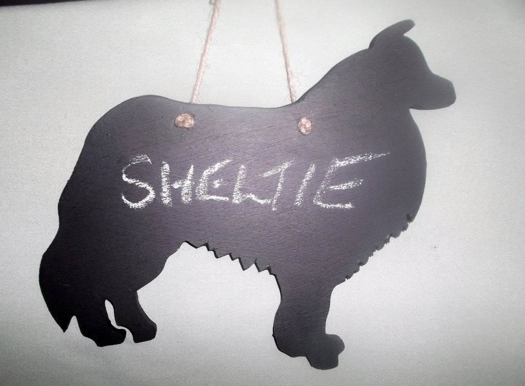 Sheltie Dog Shaped Black Chalkboard Christmas Birthday gift present pet supplies - Tilly Bees