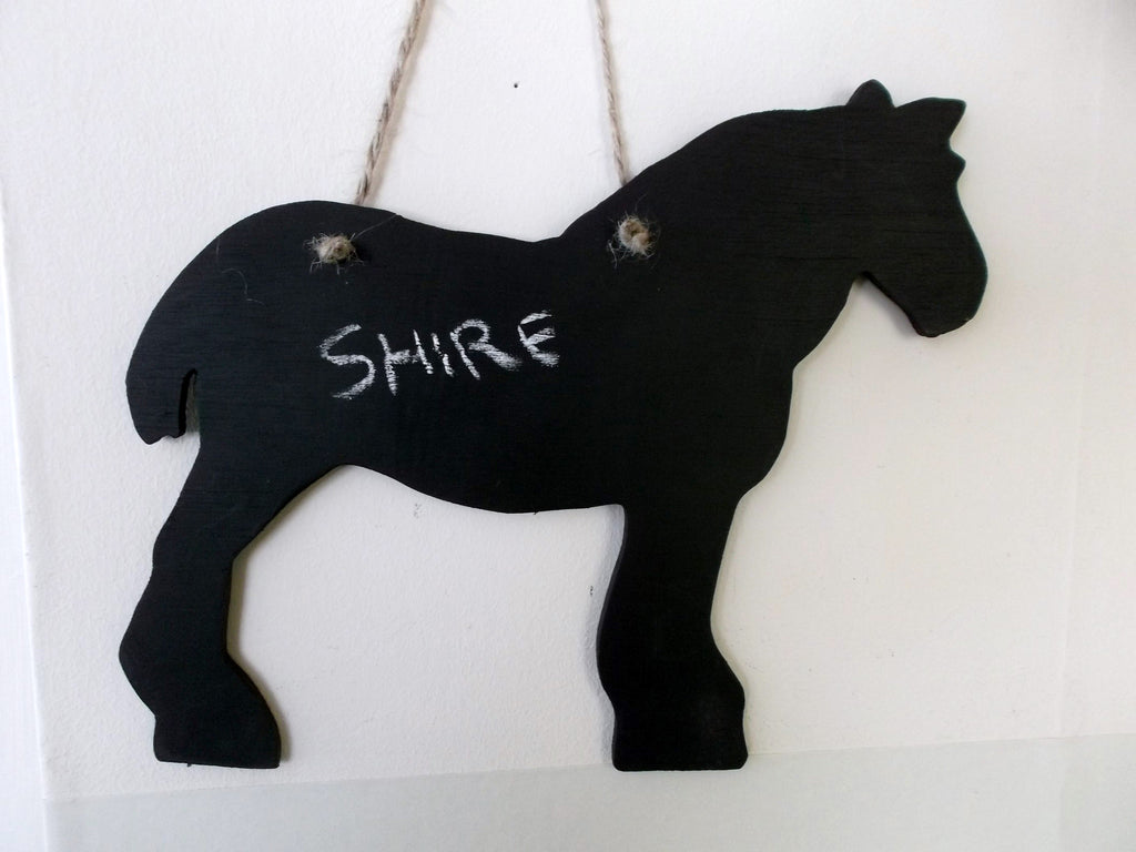 Shire Horse Shaped Chalk Board pet supplies pony equestrain supplies tack room stable door signs - Tilly Bees