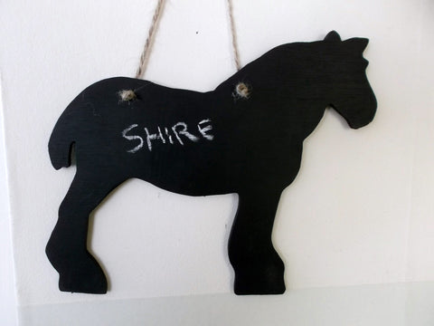 Shire Horse Shaped Chalk Board pet supplies pony equestrain supplies tack room stable door signs