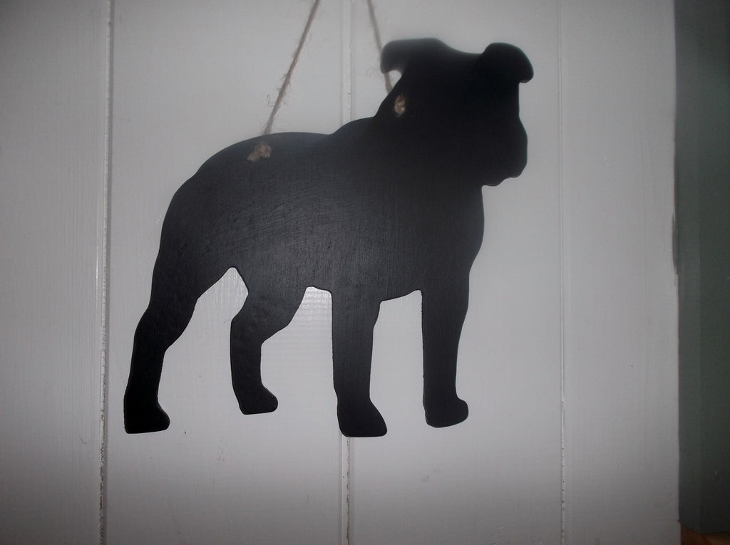 Staffordshire Bull Terrier Staffi Dog Shaped Black Chalkboard pet supplies Christmas gift - Tilly Bees