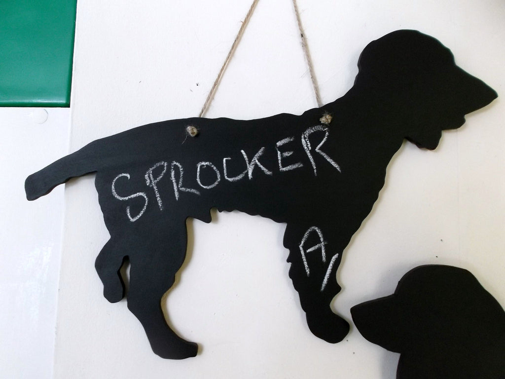 Sprocker Spaniel (a) Dog Shaped Black Chalkboard Christmas Birthday gift present pet supplies - Tilly Bees