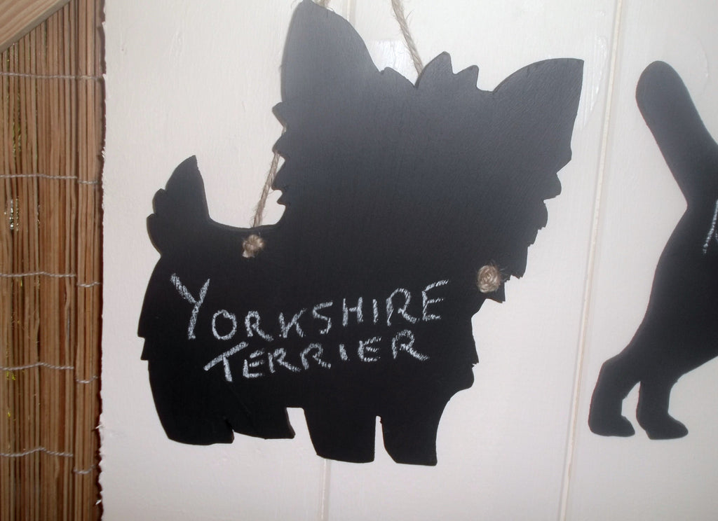 Yorkshire Terrier Dog Shaped Black Chalkboard Christmas Birthday gift present pet supplies - Tilly Bees