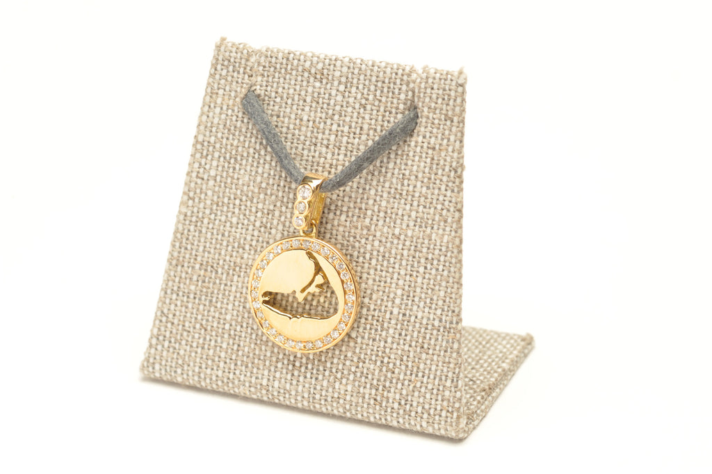 Diamond Border Yellow Gold Necklace Charm