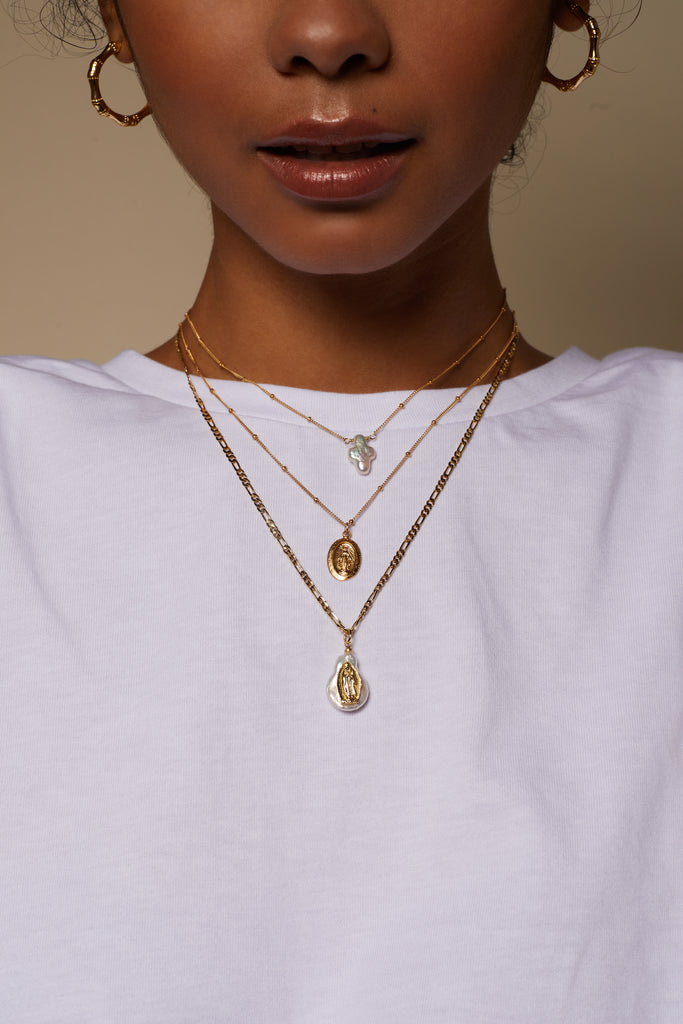 Mother Mary Necklace, Gold