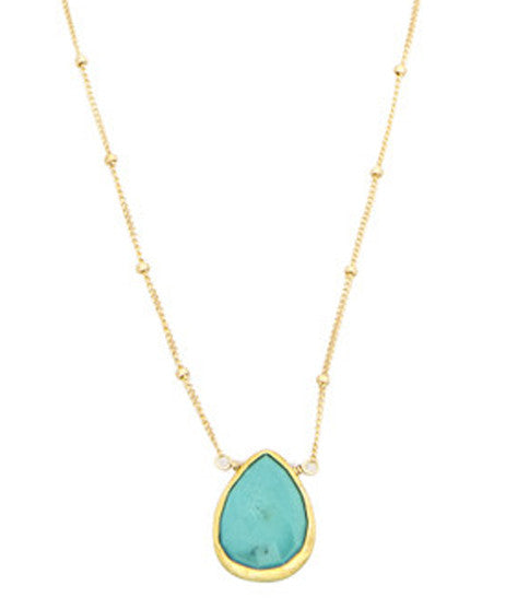Stone Drop Necklace, Turquoise