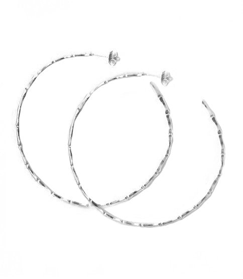 Silver Bamboo Hoop Earrings, Large
