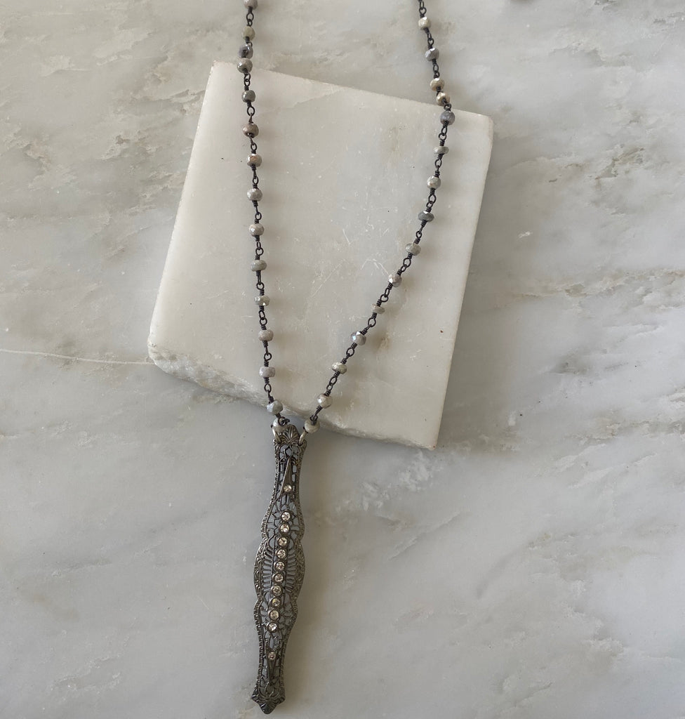 Ivy Vintage Pave Bar Necklace
