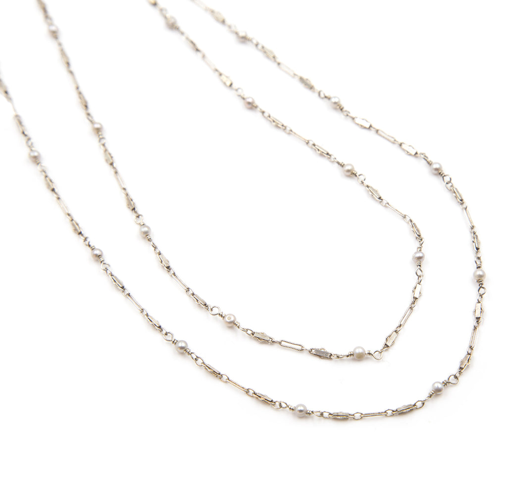 Baby Boho Freshwater Pearl Layering Necklace, Silver