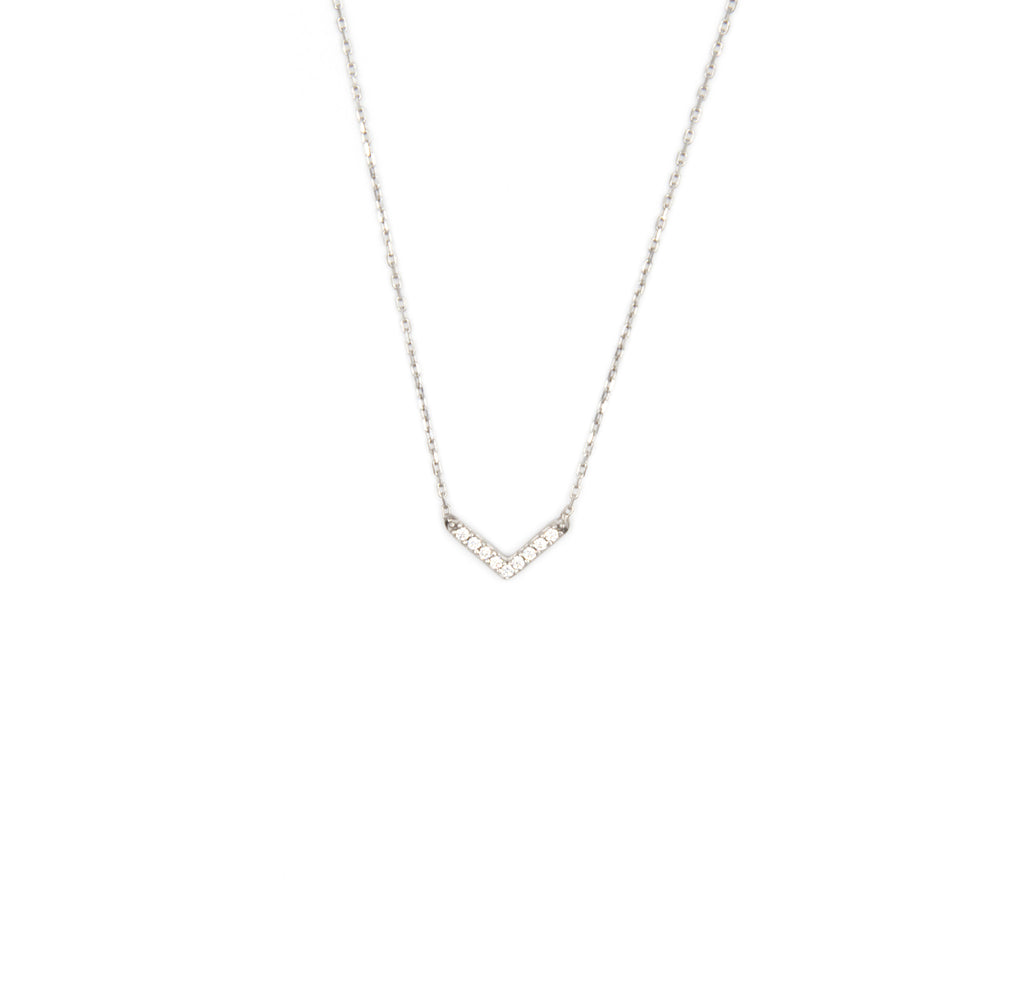 Baby V Necklace, Silver