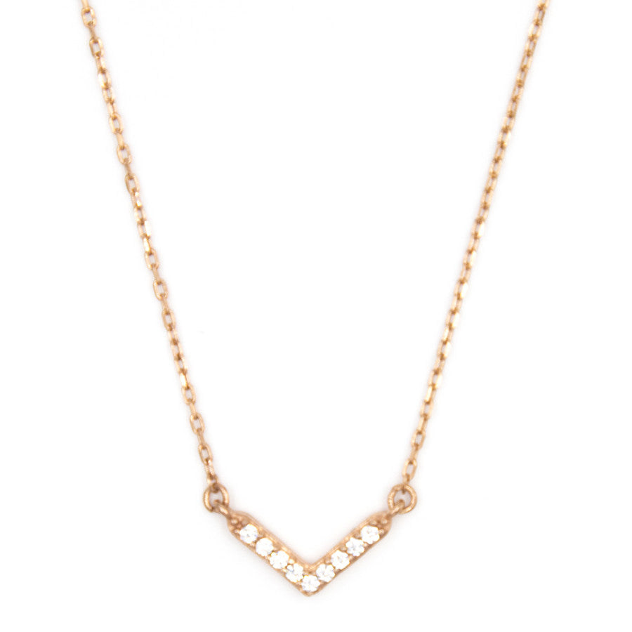 Baby V Necklace, Rose Gold