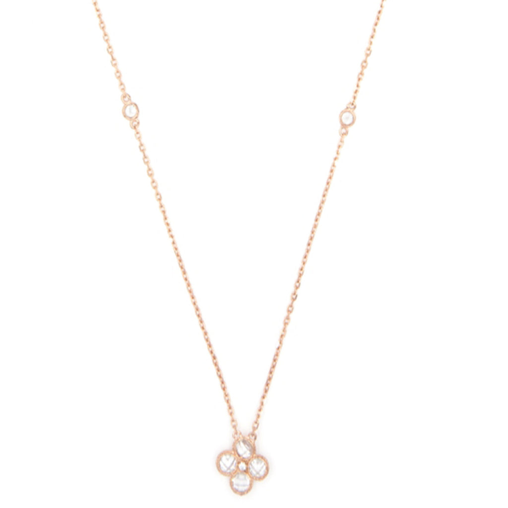 Rose Gold Daisy Necklace, Clear