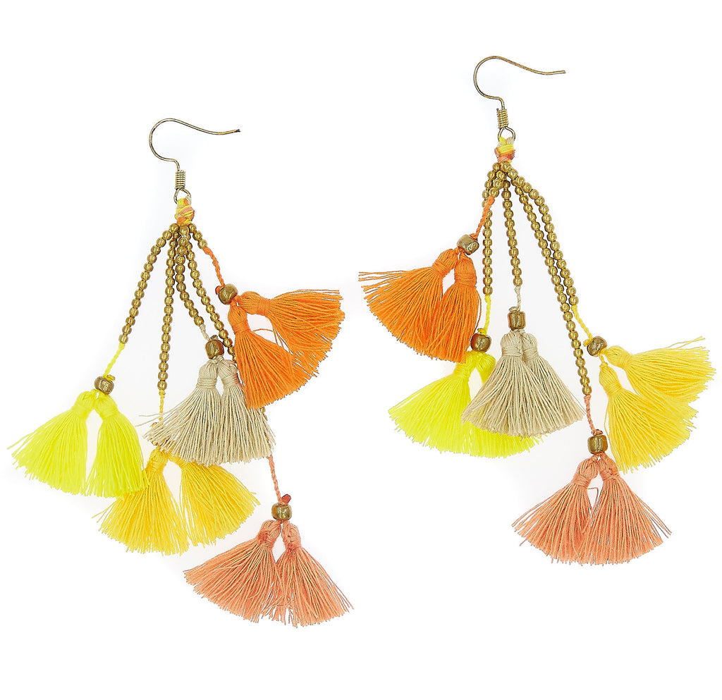Dara Tassel Earrings, Citrus