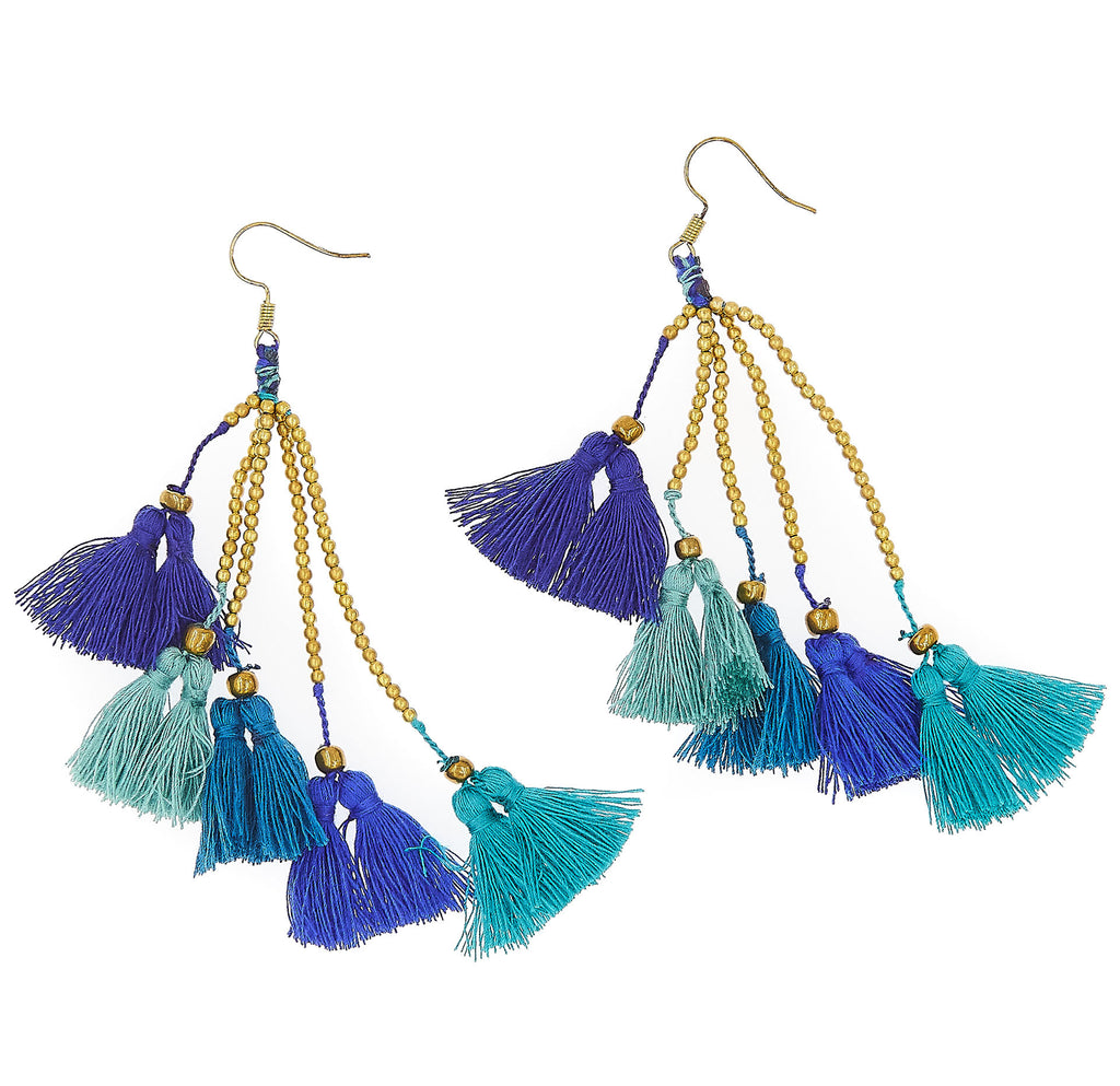 Dara Tassel Earrings, Peacock