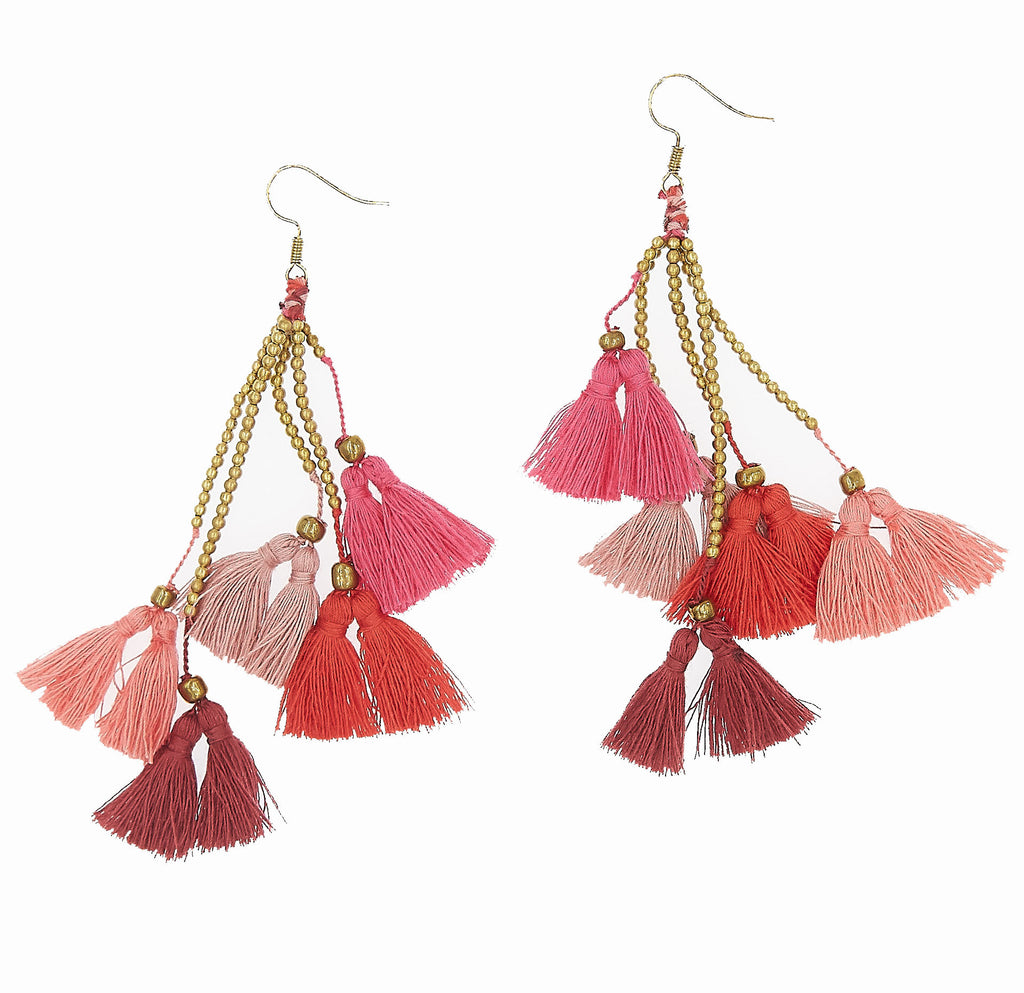 Dara Tassel Earrings, Rosé