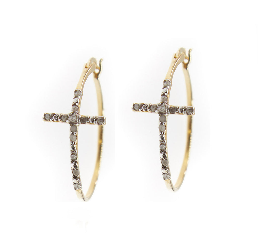 Devoted Raw Diamond Cross Hoops