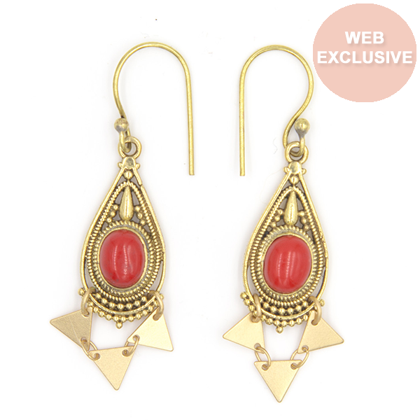 Dubai Mini Earrings, Coral