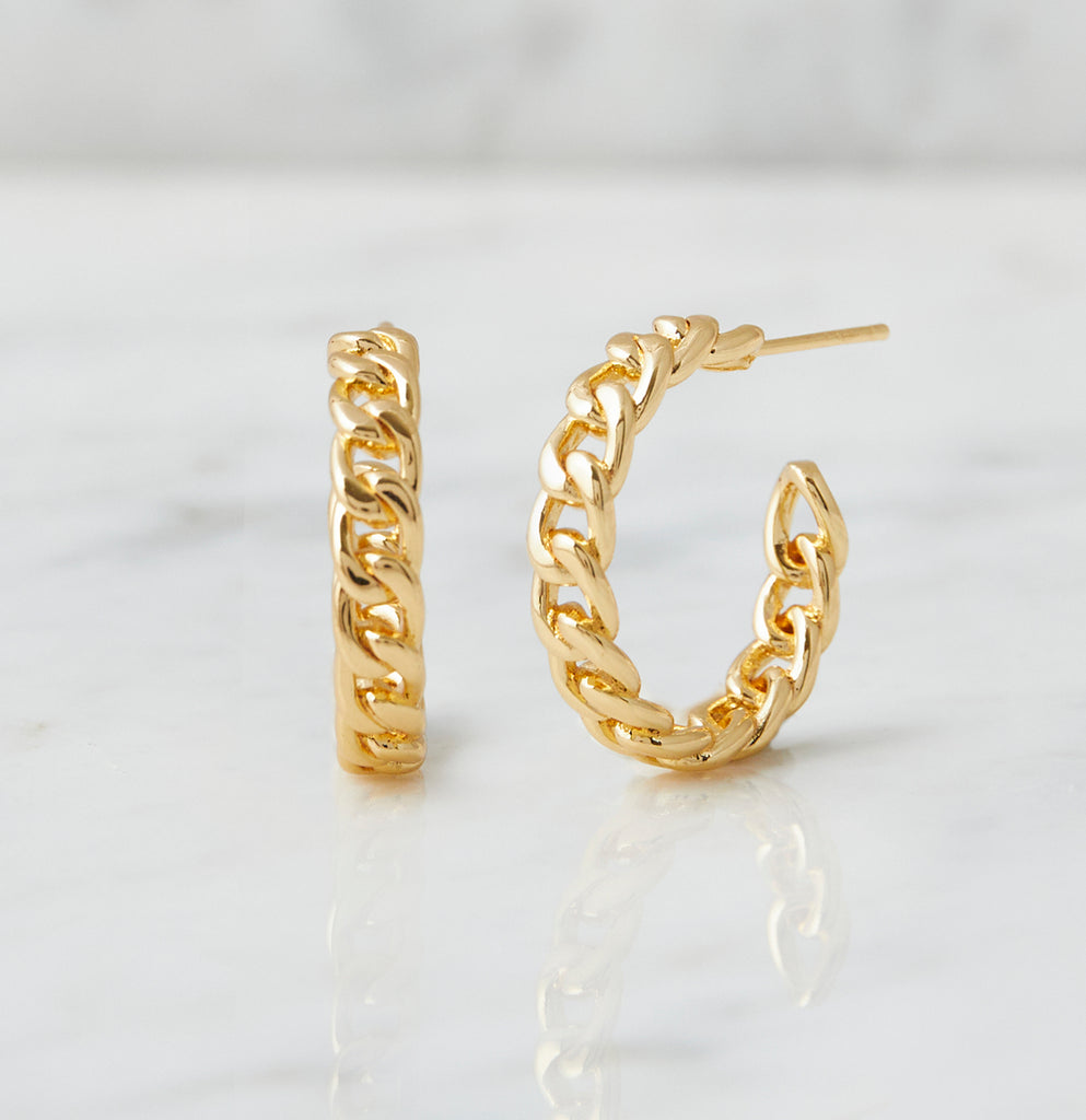 Parker Chain Link Hoops, Gold