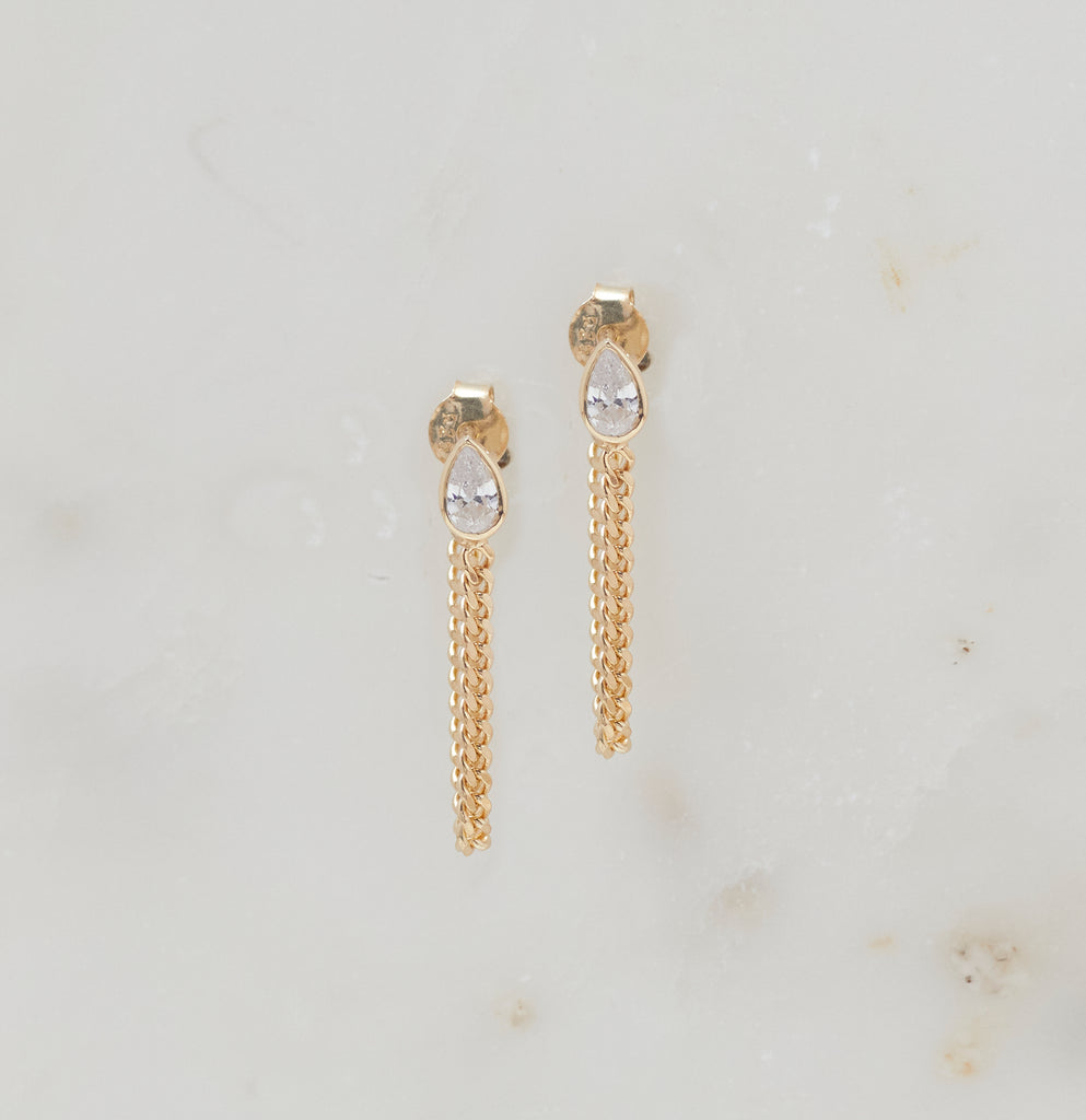 Avery Chain Studs, Gold