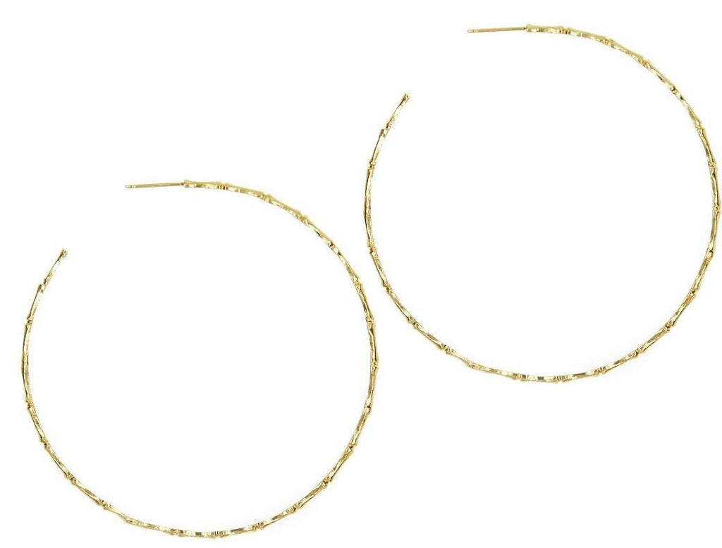 ReDone Vintage Inspired Gold Bamboo Hoop Earrings Xtra Large
