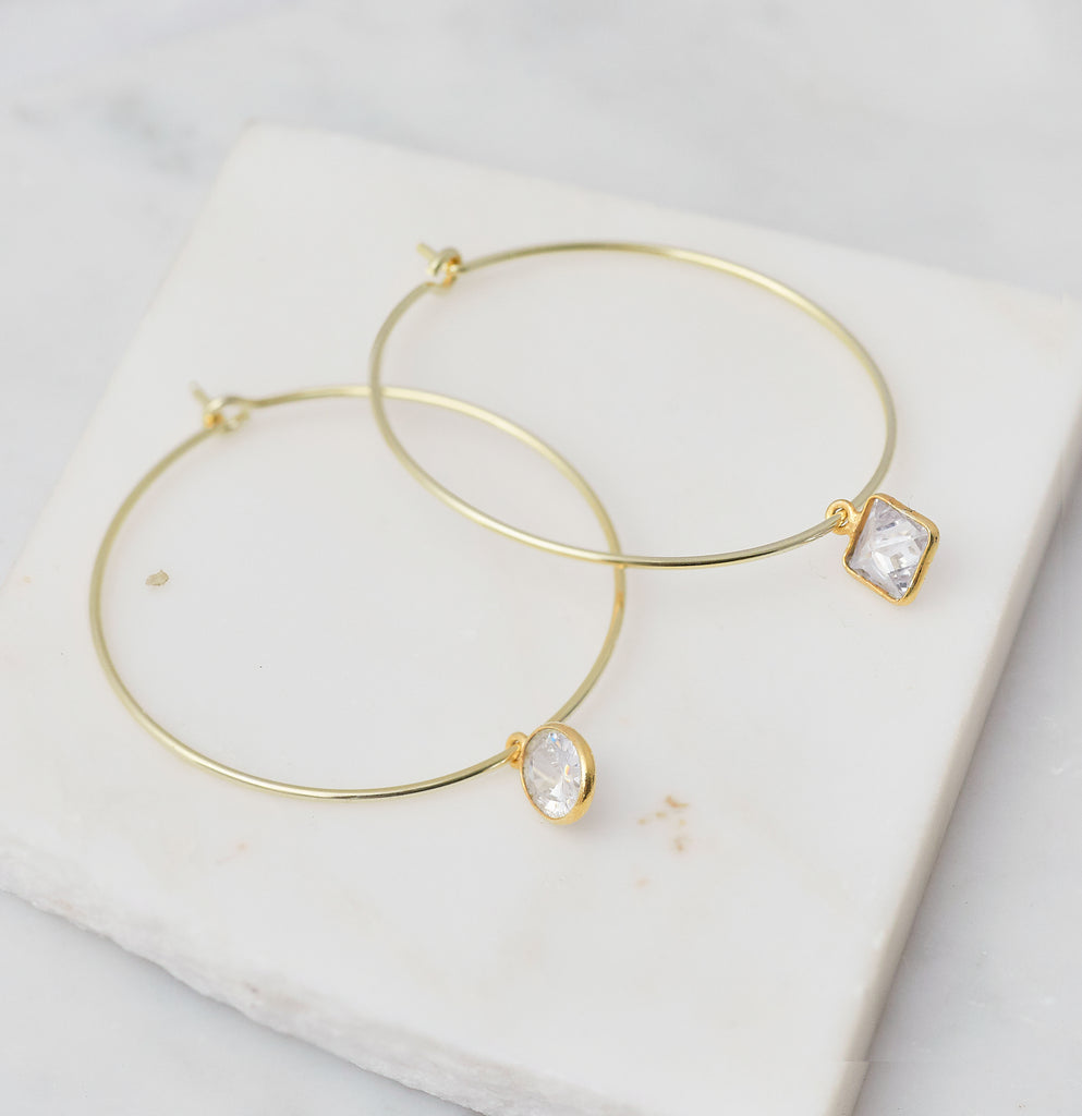 Mira Mismatched Cz Hoops, Gold