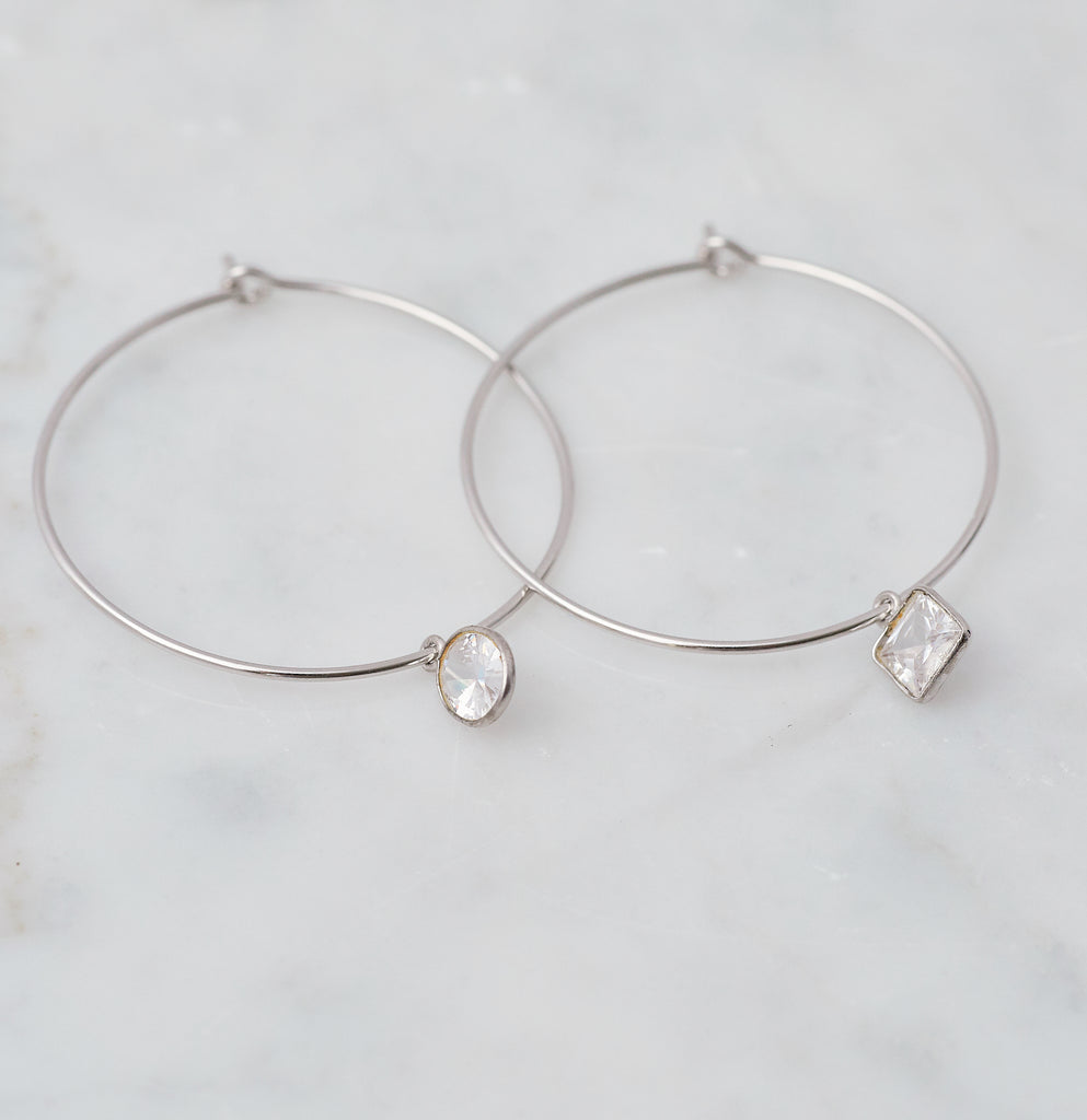 Mira Mismatched Cz Hoops, Silver
