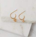 Moonlight Mismatched Tiny Hoops, Gold