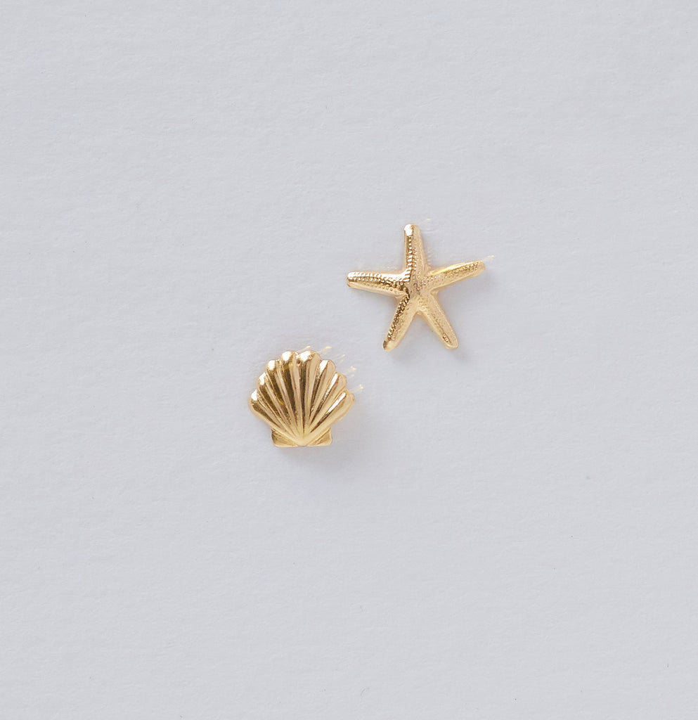 Mismatched Sea Shell Studs
