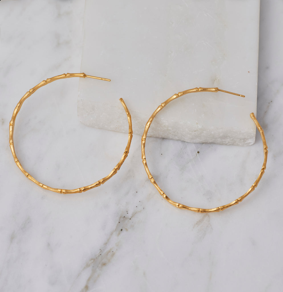 ReDone Vintage Inspired Gold Bamboo Hoop Earrings, Medium